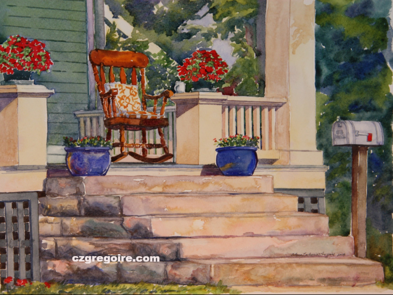 Rocking Chair Porch with Flowers