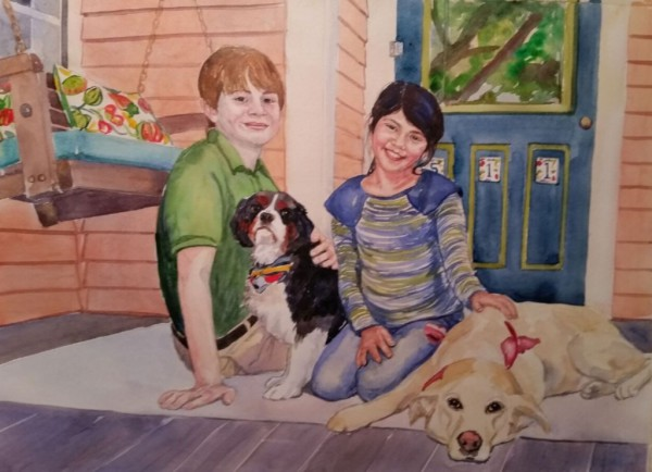 Portrait of Children with Pets