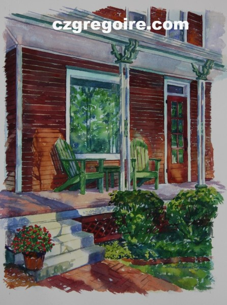 Red Summer Porch