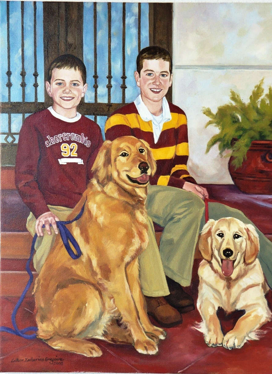 Portrait of Brothers with Dogs