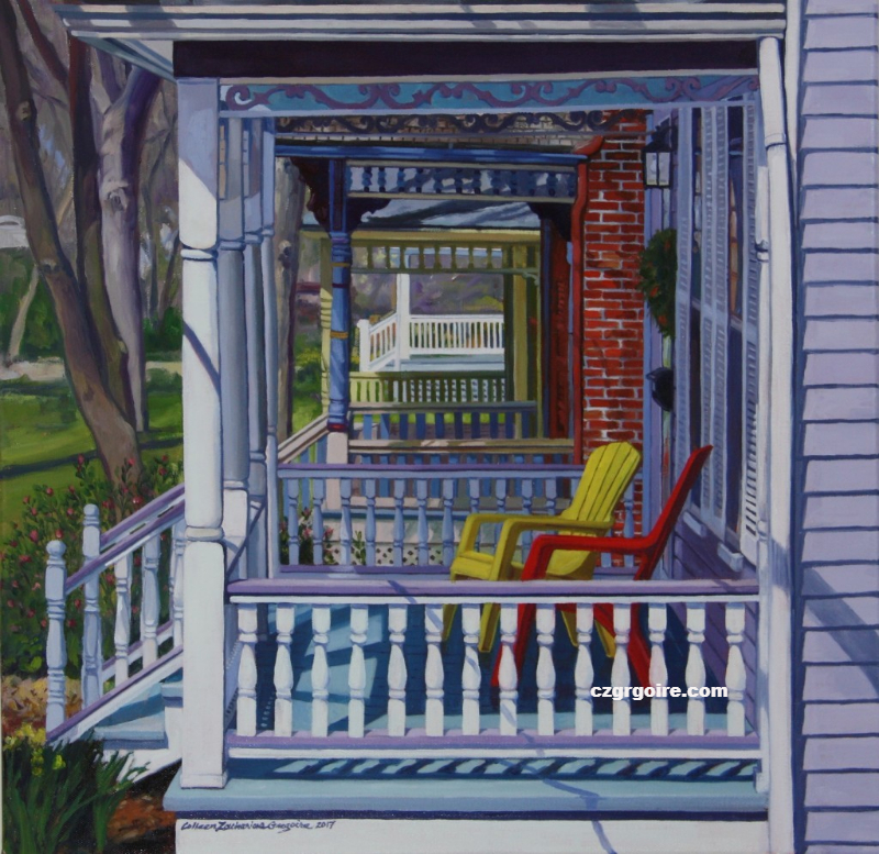 Porches in a Row, oil