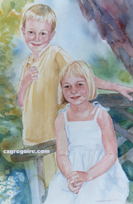 Portrait of Children in the Garden